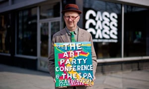 Artist Bob and Roberta Smith promoting the Art Party Conference