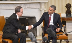 US President Barack Obama meets UN secretary general Ban Ki-moon in the Oval Office of the White House