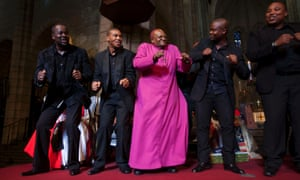 The 2013 Templeton Prize Laureate, Archbishop Emeritus Desmond Tutu celebrating with the Cape Town Opera Ensemble at the Templeton Prize ceremony at St. George's Cathedral in Cape Town last night.