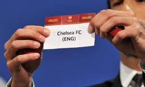 Ruud van Nistelrooij shows the name Chelsea FC during the UEFA Europa League semi-final draw at the UEFA headquarters in Nyon, Switzerland. Chelsea will play Basel.
