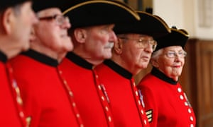 Dorothy Hughes, one of the first two female Chelsea Pensioners, lines up for inspection with other Chelsea Pensioners who will take part in Baroness Thatcher's funeral, during a uniform inspection at the Royal Hospital Chelsea in London.