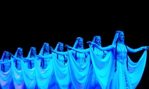 Rhapsody in blue: The Georgian state academic folk song and dance ensemble Rustavi perform at the Crocus City Hall, Moscow.