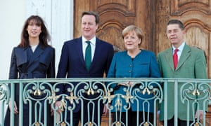 Mini break. German Chancellor Angela Merkel and her husband Joachim Sauer entertain David Cameron and his wife Samantha at the government's guest house Schloss Meseberg, north of Berlin, Germany. Cameron has bought his children on foreign trip for the first time