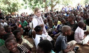 Madonna visiting school children in Chorwe, Malawi