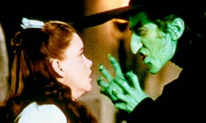 Judy Garland as Dorothy and Margaret Hamilton as the Wicked Witch in the Wizard of Oz