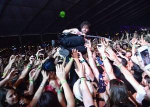 Coachella: Yannis Philippakis of Foals crowd-surfs