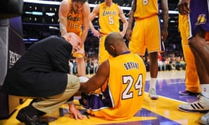 Kobe Bryant suffers an Achilles tendon injury against the Golden State Warriors