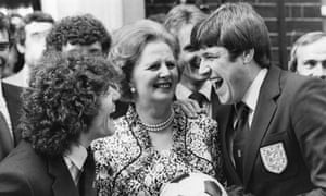 Margaret Thatcher with Kevin Keegan and Emlyn Hughes before the 1980 European Championship