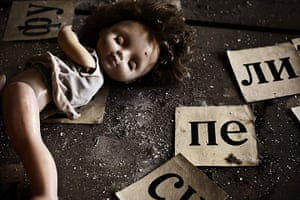 Chernobyl exclusion: A doll and letters in Pripyat primary school