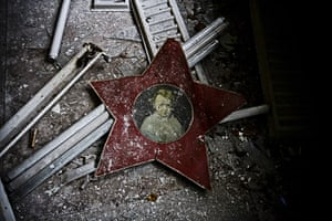 Chernobyl exclusion: A picture and light fittings in Pripyat primary school