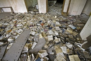 Chernobyl exclusion: Abandoned books at Pripyat's palace of culture