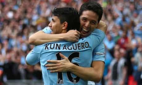 Sergio Aguero celebrates scoring his team's second goal.