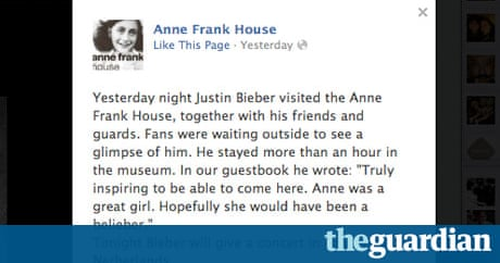 Justin bieber hopes anne frank 39 would have been a belieber for Anne frank musical