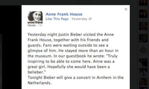 Image result for Justin Bieber at Anne Frank house in 2014 and image