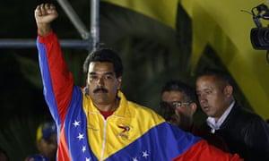 Nicolás Maduro celebrates his election as Venezuela's president.
