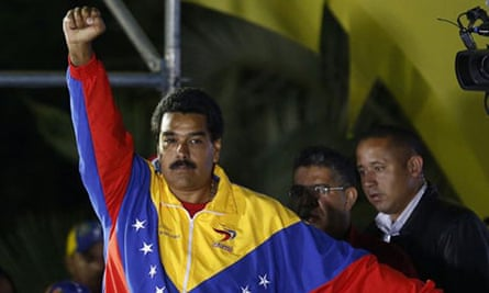 Nicolás Maduro celebrates his election as Venezuela's president.