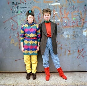 Big Picture - Rob Bremner: two young girls dressed in fashions from the eighties against graffiti wall