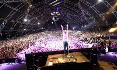 Moby onstage during day 2 of Coachella