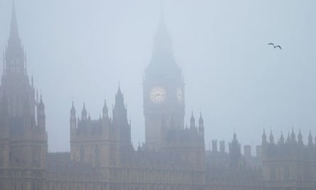 Houses of Parliament on a foggy morning