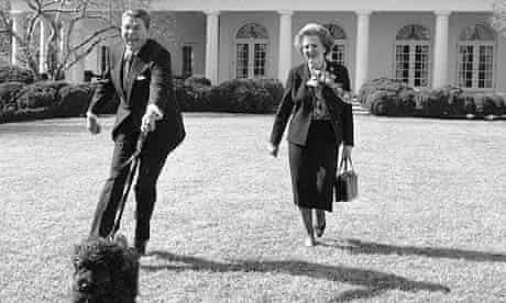 Margaret Thatcher, her Asprey handbag and Ronald Reagan at the White House