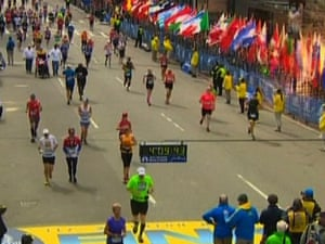 Still image taken from video courtesy of NBC shows an explosion at the Boston Marathon.