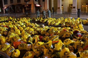 Boston explosions update: Unclaimed finish line bags near the scene of a twin bombing