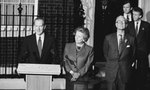 From left to right, US Secretary of State James Baker, British Prime Minister Margaret Thatcher and British Foreign Secretary Douglas Hurd in Downing Street, London, 9th November 1990.