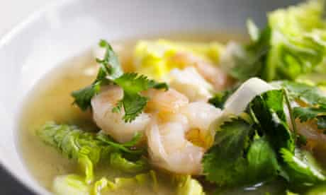 Miso soup with prawns