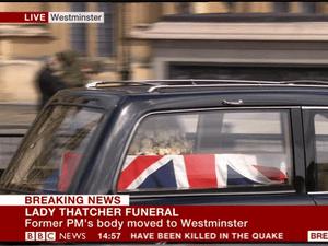 Lady Thatcher's coffin