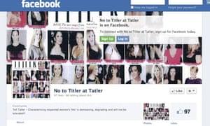 No to Titler at Tatler Facebook page