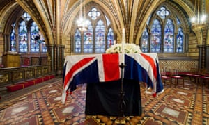 Lady Thatcher's coffin rests in the Crypt Chapel of St Mary Undercroft beneath the Houses of Parliament.