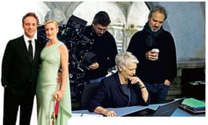 Sam Mendes with Kate Winslet; and directing Judi Dench in Skyfall