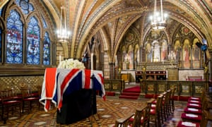 Lady Thatcher's coffin rests in the Crypt Chapel of St Mary Undercroft beneath the Houses of Parliament on the eve of her funeral.