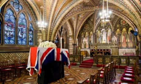 Lady Thatcher's  coffin in the Crypt Chapel of St Mary Undercroft beneath the Houses of Parliament.