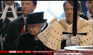 The Queen at Lady Thatcher's funeral.