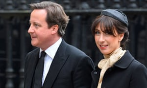 Prime Minister David Cameron and his wife Samantha arrive for the funeral service
