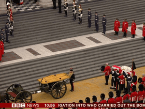 Lady Thatcher's coffin arriving at St Paul's