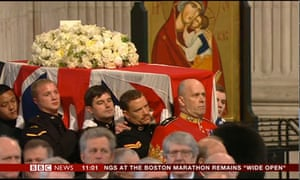 Lady Thatcher's coffin at St Paul's Cathedral.