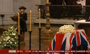 Amanda Thatcher, Lady Thatcher's granddaughter, reads at her funeral.