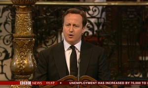 David Cameron reading at Lady Thatcher's funeral.