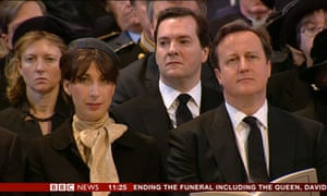 David and Samantha Cameron listen to Richard Chartres, the Bishop of London, at Lady Thatcher's