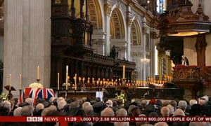 Richard Chartres, the Bishop of London, speaks at Lady Thatcher's funeral.