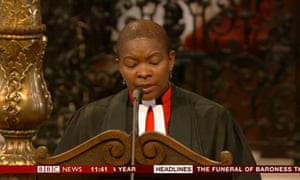Reverend Prebendary Rose Hudson-Wilkin reads at Lady Thatcher's funeral.