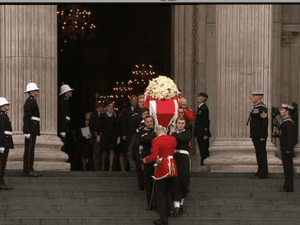 Lady Thatcher's coffin leaving St Paul's