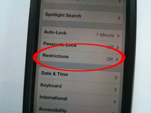 iOS parental controls