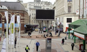 The BBC Large Television Screen in Liverpool City centre which Liverpool City Council had turned off and would not show the Thatcher Funeral.