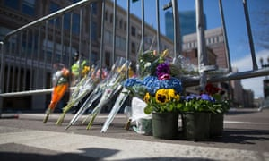 Flowers were placed at the scene of the Boston Marathon bombs.