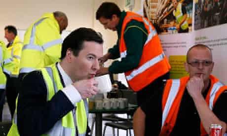 George Osborne drinks tea at Morrisons