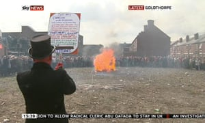 Anti-Thatcher protesters burning an effigy of the late leader in Goldthorpe, South Yorkshire
