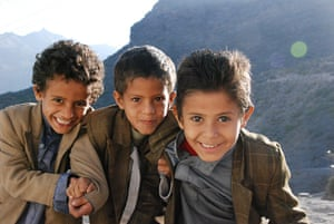Young boys in the rural village of Bani Mareh, south of Sana'a